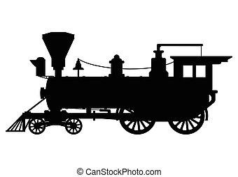 silhouette, vapore, locomotiva