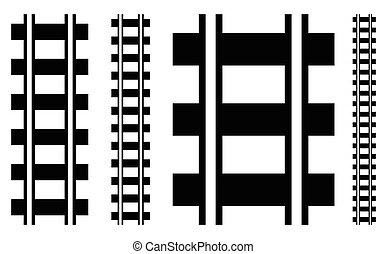 silhouette, varen voetspoor uit, illustratie, w, spoorweg, ...