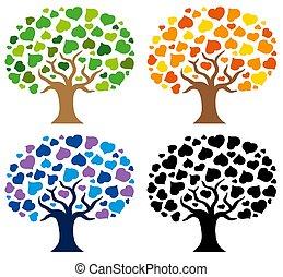 silhouette, vario, albero