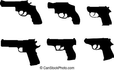 silhouette, vario, pistole, mano