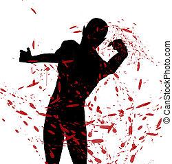 silhouette, vecht