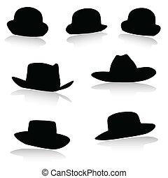 silhouette, vecteur, chapeau, noir
