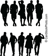 silhouette, vecteur, -, collection, hommes