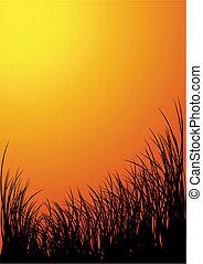 silhouette, -, vecteur, coucher soleil, fond, herbe