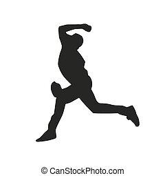 silhouette, vecteur, cruche, base-ball