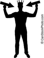 silhouette, vecteur, de, a, égoïste, homme, à, a, couronne, sur, sien, tête, tries, attirer, attention, par, tenue, indicateur, dans, sien, mains
