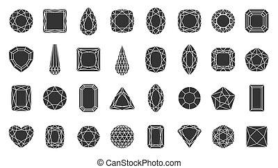 silhouette, vecteur, diamant, bijou, pierre gemme, ensemble...