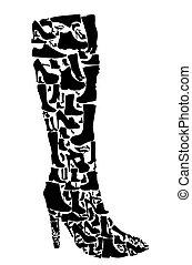 silhouette, vecteur, eps10, chaussures, illustration