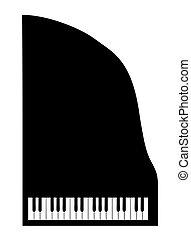 silhouette, vecteur, fond, piano queue, blanc