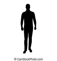 silhouette, vecteur, jean, debout, cavalier, homme