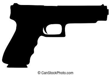 silhouette, vecteur, mm, contour, eps, pistolet, bullets., 10, 9, illustration, couleur
