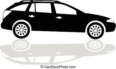 silhouette, vecteur, noir, voiture