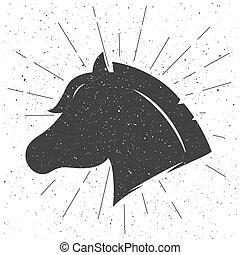 silhouette, vecteur, signe., cheval, style., retro, tête