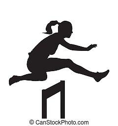 silhouette, vecteur, sur, sauter, courant, course, obstacle, femme, obstacles