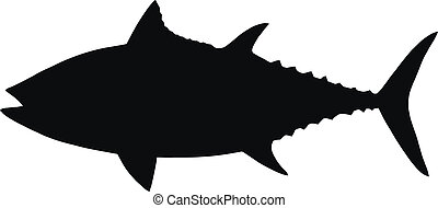 silhouette, vecteur, tuna.