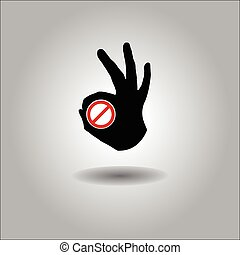 Silhouette Vector All-Fine OK Hand with forbidden sign