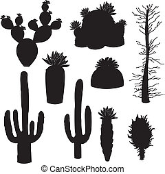 silhouette-vector, cactus and tree - Is a EPS Illustrator...