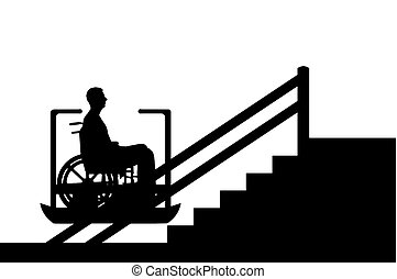 Wheelchair And Stairs Vector Empty Wheel Chair And