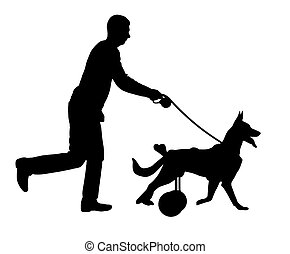 Silhouette vector Dog in a wheelchair is running with its owner