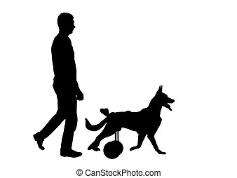 Silhouette vector Dog in a wheelchair is walking next to the owner.