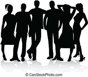 silhouette, -, vector, groep, vrienden, best