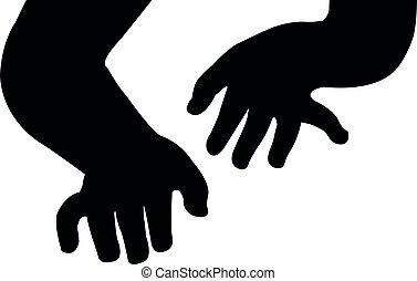 silhouette, vector, handen
