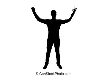 Silhouette vector Happy silhouette of a disabled man with prosthetic hand