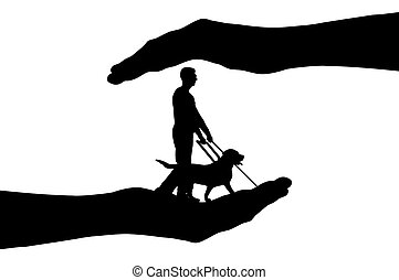 Silhouette vector In hands a blind man and dog guide