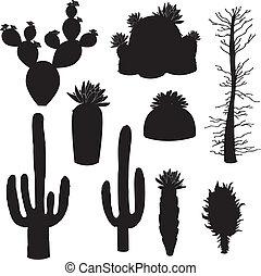 silhouette-vector, kaktus træ