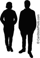 silhouette, vector, lichaam, paar