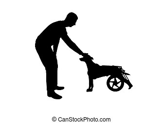 Silhouette vector Man outdoors strokes his paralyzed dog in...