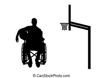 Silhouette vector of a disabled basketball player in a...