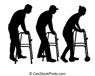 Silhouette vector of a disabled man and woman walking, using a walker
