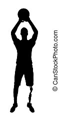 Silhouette vector of a disabled man with a leg prosthesis...