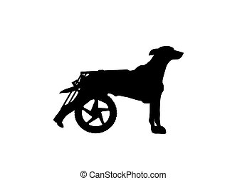 Silhouette vector of a dog in a wheelchair. The concept of aid paralyzed pet