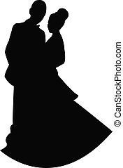 silhouette vector of a just married