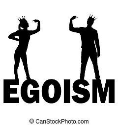Silhouette vector of a narcissistic woman and a man with a crown on her head showing each finger on herself