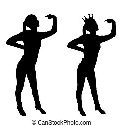 Silhouette vector of a narcissistic woman showing her finger at yourself