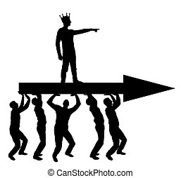 Silhouette vector of a selfish man with a crown on his head indicates to people who carry him, where to move