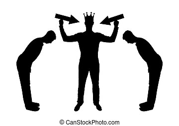 Silhouette vector of a selfish man with a crown on his head is trying to attract attention