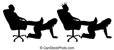 Silhouette vector of a selfish man with a crown on his head sitting in a chair, threw back his legs on the woman's back