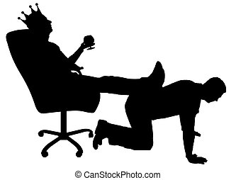 Silhouette vector of a selfish man with a crown on his head sitting in an armchair, threw back his legs on the man's back