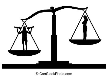 Silhouette vector of a selfish woman in priority on the scales of justice with an ordinary woman