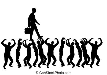 Silhouette vector of a walking selfish and narcissistic man on the hands of the crowd