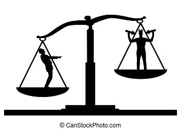 Silhouette vector of an ordinary man on scales of justice, he is in priority and he laughs at a selfish man with a crown on his head