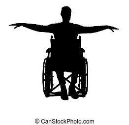 Silhouette vector of happy disabled man in wheelchair