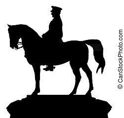silhouette vector of the ataturk statue, that located at Ankara, Ulus square, turkey