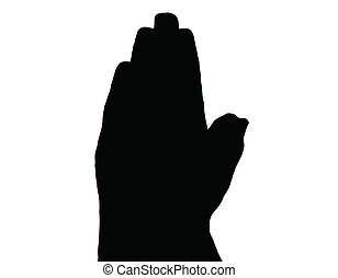 Silhouette Vector Praying Hands Side on White