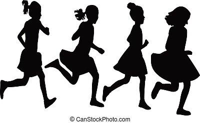 silhouette, vector, rennende , meiden