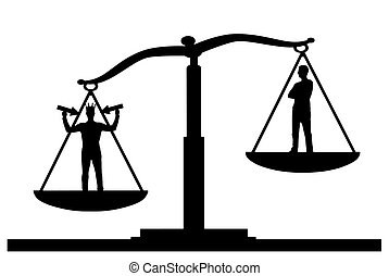 Silhouette vector selfish man with a crown on his head in priority on the scales of justice with an ordinary man
